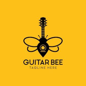 Inspiration de conception de logo d'abeille de guitare