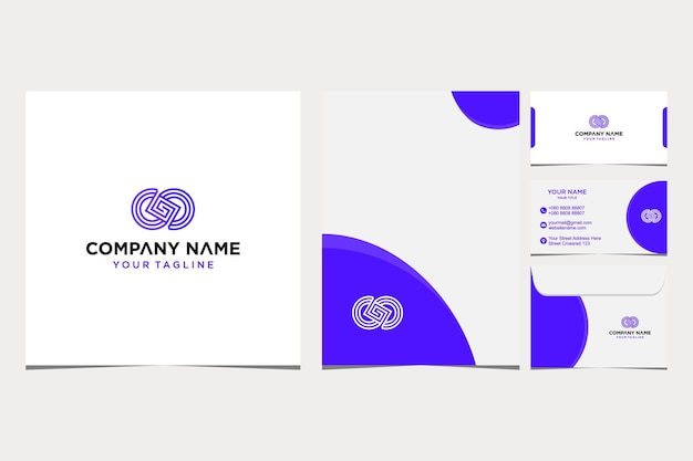 Inspiration de conception de logo abstrait pour l'enveloppe de carte de visite et d'entreprise et vecteur premium de papier à en-tête vecteur premium