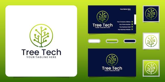 Inspiration de conception de logo d'arbre de réseau technologique et carte de visite