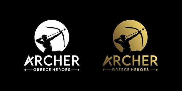 Inspiration de conception de logo archer, avec silhouette de guerrier grec, création de logo vintage