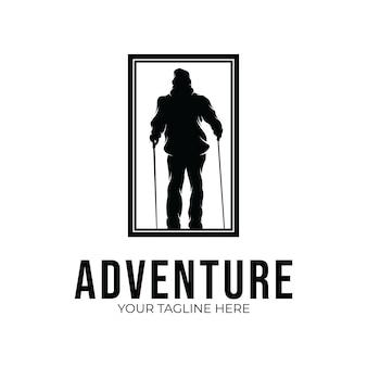 Inspiration de conception de logo d'aventure de randonnée