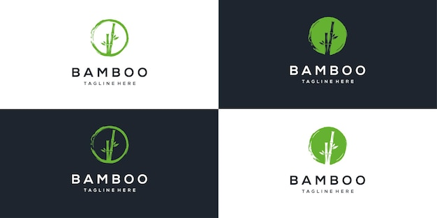 Inspiration de conception de logo en bambou naturel simple