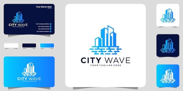 Inspiration de conception de logo de bâtiment et modèle de vagues de plage et conception de carte de visite