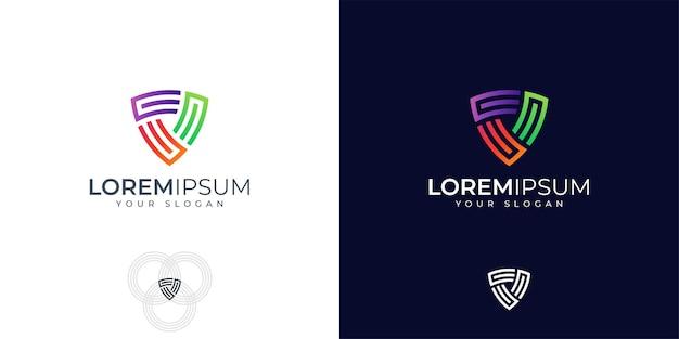 Inspiration de conception de logo bouclier monogramme coloré