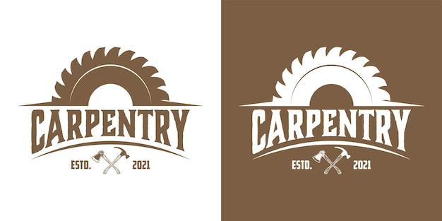 Inspiration de conception de logo de bûcheron de menuisier de menuiserie