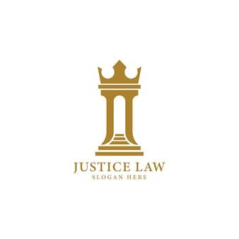Inspiration de conception de logo de bureau d'avocat de couronne de pilier