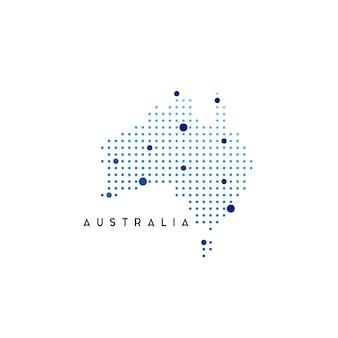 Inspiration de conception de logo de carte d'australie en pointillé