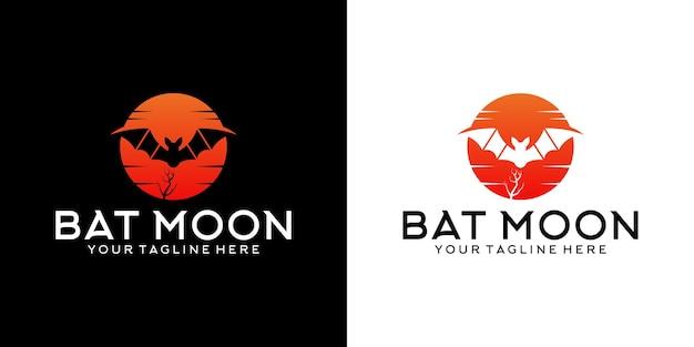 Inspiration de conception de logo de chauve-souris de lune