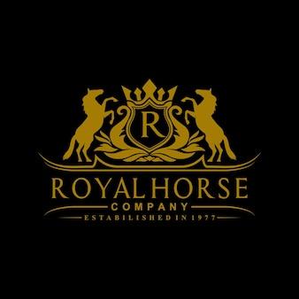 Inspiration de conception de logo de cheval royal de couronne d'or de luxe
