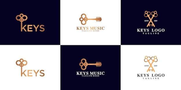 Inspiration de conception de logo de clé de maison ancienne