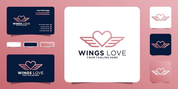 Inspiration de conception de logo de coeur ailé dans le style de dessin au trait et de carte de visite
