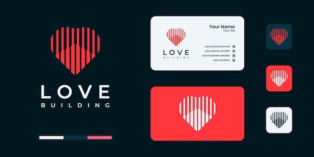 Inspiration de conception de logo de coeur et de bâtiment. construction, constructeur, bâtiment et immobilier.