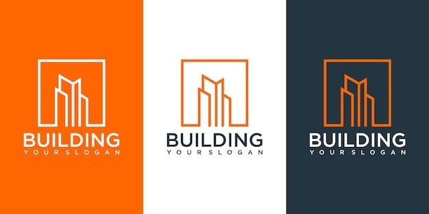 Inspiration de conception de logo de construction de bâtiment. création de logo
