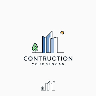 Inspiration de conception de logo de construction, dessin au trait, contour, simple, minimaliste premium