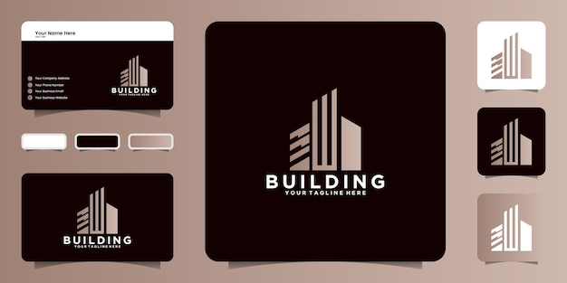 Inspiration de conception de logo de construction avec la lettre initiale w et la carte de visite