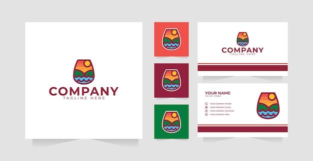 Inspiration de conception de logo de coucher de soleil de verre à vin et carte de visite
