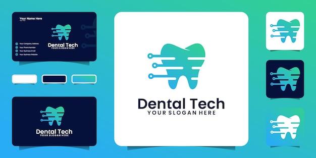 Inspiration de conception de logo dentaire de santé de technologie avec des lignes et des points avec la carte de visite