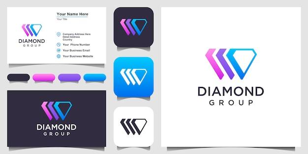 Inspiration de conception de logo de diamant. création de logo et carte de visite