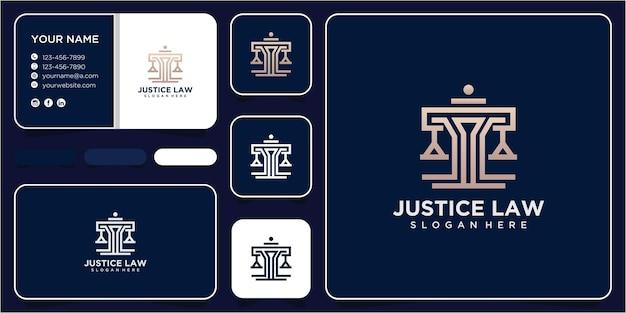 Inspiration de conception de logo de droit de la justice. concept de conception de logo de cabinet d'avocats