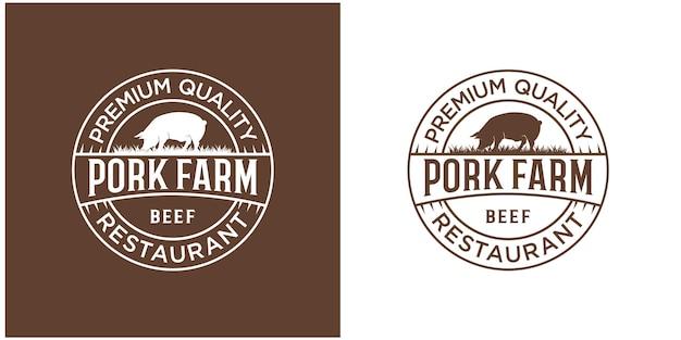 Inspiration de conception de logo d'étiquette d'emblème de boeuf vecteur premium
