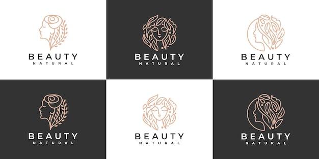 Inspiration de conception de logo de femmes de beauté pour les soins de la peau, les salons et les spas, avec combinaison de feuilles