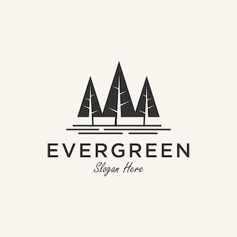 Inspiration de conception de logo à feuilles persistantes avec élément en pin,