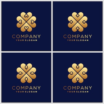 Inspiration de conception de logo fleur élégant doré minimaliste