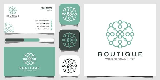 Inspiration de conception de logo de fleur élégante minimaliste avec un style d'art en ligne. cosmétique, spa, salon de beauté décoration boutiqu logo et carte de visite