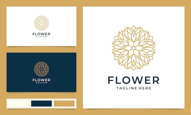 Inspiration de conception de logo de fleur minimaliste avec style d'art en ligne