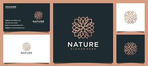 Inspiration de conception de logo de fleur pour les soins de la peau, le yoga, les cosmétiques, les salons et le spa, avec concept de ligne et carte de visite
