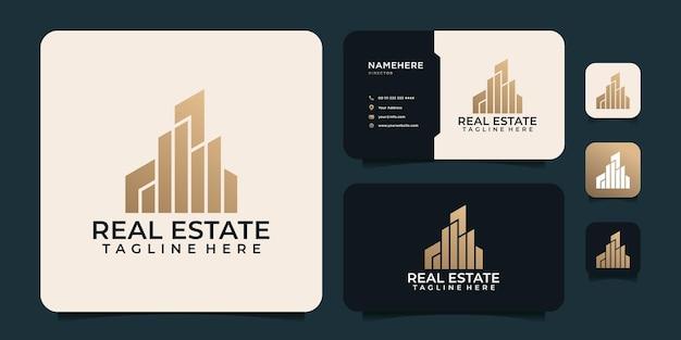Inspiration De Conception De Logo De Forme D'entreprise De Construction Immobilière D'or Vecteur Premium