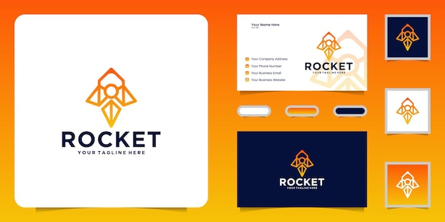 Inspiration de conception de logo de fusée et cartes de visite