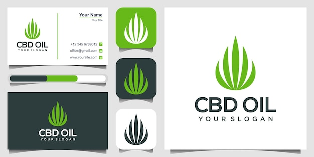 Inspiration de conception de logo d'huile de cannabis logo d'huile de cbd symbole de feuille de marijuana logo de produit cbd