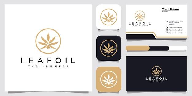Inspiration de conception de logo d'huile de feuille pour l'entreprise et la carte de visite