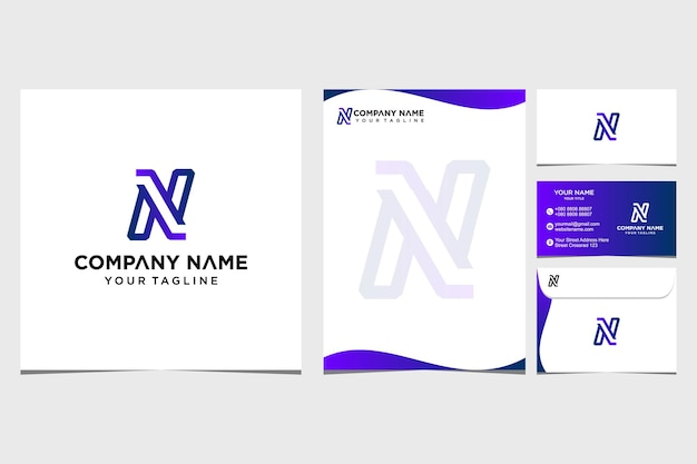 Inspiration de conception de logo initial et d'identité pour le papier à en-tête de l'entreprise et de la carte de visite vecteur premium