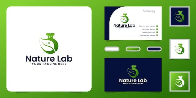 Inspiration de conception de logo de laboratoire de nature et carte de visite