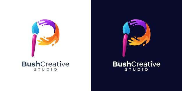 Inspiration de conception de logo lettre p coloré