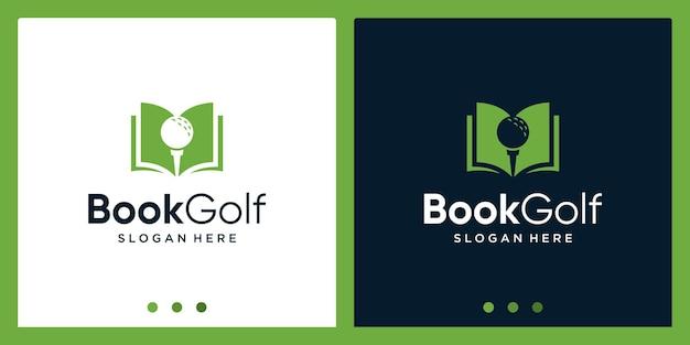 Inspiration de conception de logo de livre ouvert avec le logo de conception de golf. vecteur premium