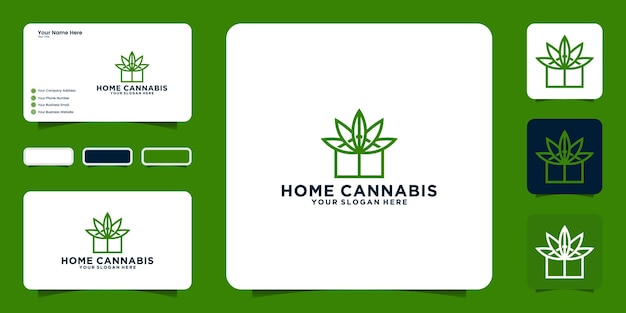 Inspiration de conception de logo de maison de cannabis et inspiration de carte de visite