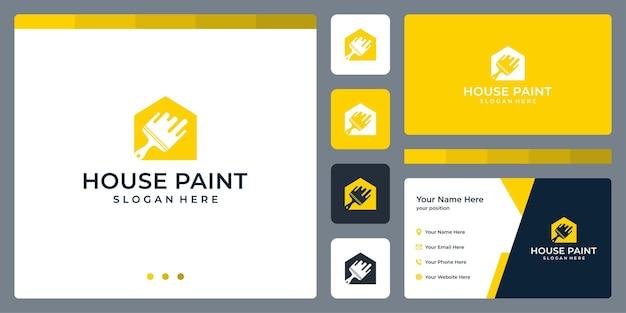 Inspiration de conception de logo à la maison et pinceaux. conception de modèle de carte de visite.