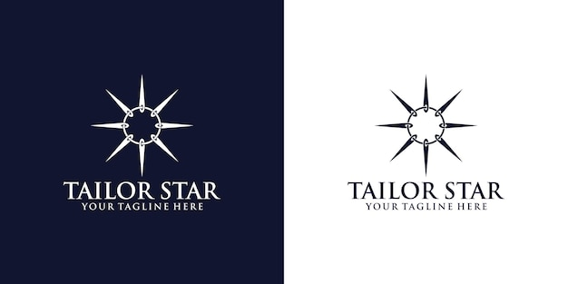 Inspiration de conception de logo sur mesure avec des aiguilles à coudre se tordant pour former une étoile