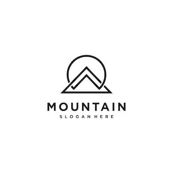 Inspiration de conception de logo de montagne d'art de ligne cool, minimal, idées vecteur premium
