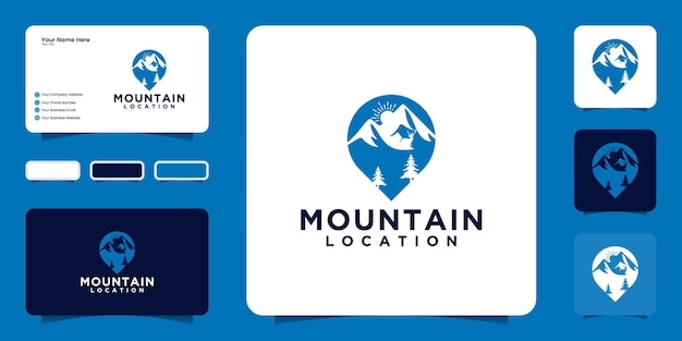 Inspiration de conception de logo de montagne et icônes d'emplacement de conception, symboles et cartes de visite