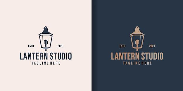 Inspiration de conception de logo de musique de lanterne