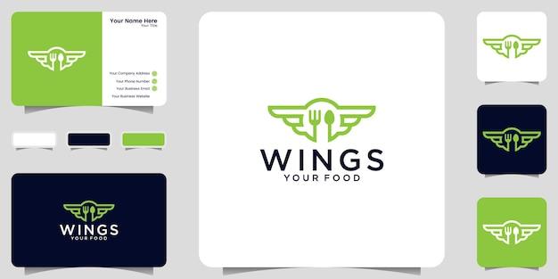 Inspiration de conception de logo de nourriture ailée, icône de livraison de restaurant et de nourriture et conception de carte de visite