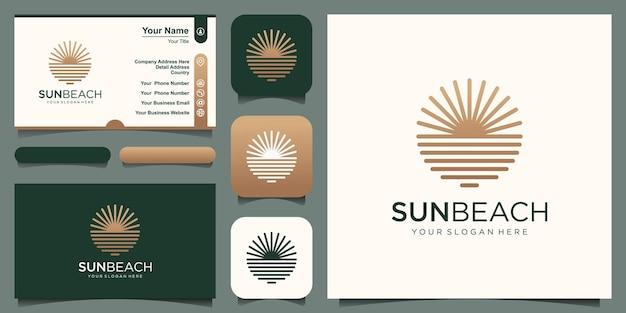 Inspiration de conception de logo océan soleil.