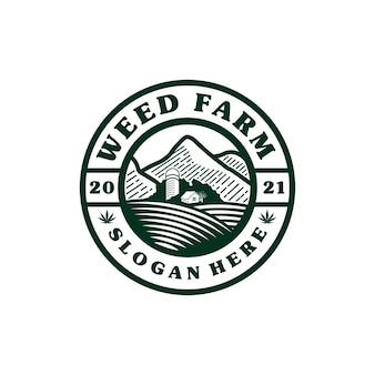 Inspiration de conception de logo de pièce de monnaie de terre de ferme de cannabis