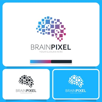 Inspiration de conception de logo de pixel de cerveau