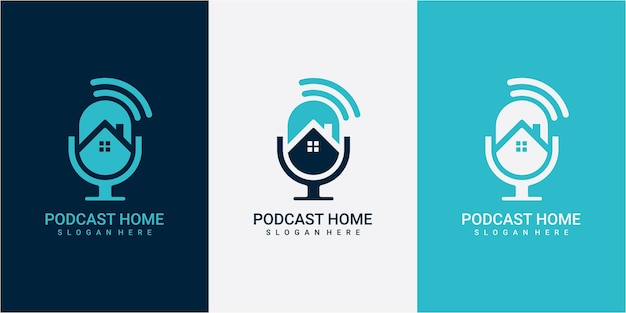 Inspiration de conception de logo de podcast de maison. podcast avec concept de conception de logo maison moderne