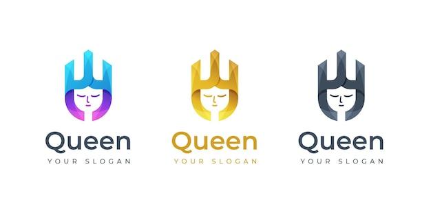 Inspiration de conception de logo queen. logo monogramme. logo de la couronne